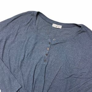 Blue Gray Treasure & Bonded Tie Knotted Blouse